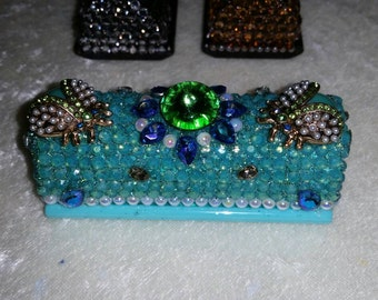 Gorgeous sea green and blue Rhinestone Crystal ladybugs Bling One of a Kind Lipstick Holder Case w pearls with Mirror inside