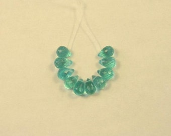 APATITE faceted drop briolettes beads AAA 6mm 10pcs