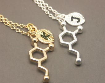 Dopamine Necklace, Personalized Initial Necklace, Chemistry Necklace, Science Necklace, Science Jewelry, molecule necklace NB815