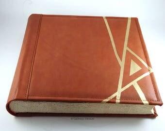 Leather Photo album / Wedding photo album / Wedding gift / Anniversary photo album / Travel photo album / Hand painted / Family Album