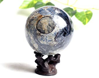 """3.22"""" Pietersite Carved Crystal Sphere Ball Spiritual Activation Energy#Q133"""