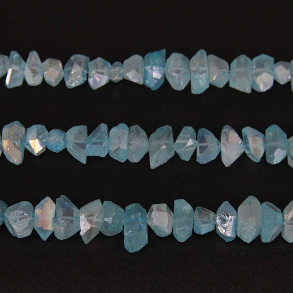 Raw Blue Quartz Crystal Points Faceted Double Terminated