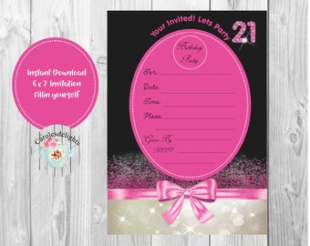 21st birthday Invitation, pink and silver,  instant download, fill in pink bow party invite,