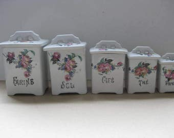 Vintage French Set of 5 Kitchen Jars, Storage Containers.