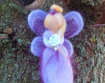 Fairy Princess mobile  Handmade OOAK Lilac purple blue-rose Needle felted Waldorf style