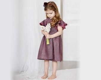 Girls burgundy  linen dress- girls summer dress-Girls birthday dress-flutter sleeve dress-vintage dress for girls 92/98cm 2-3Y