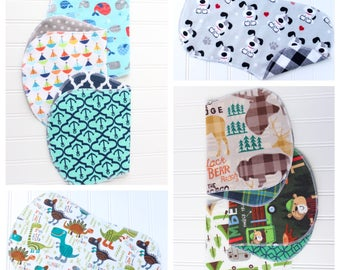 You Pick - Set of 3 - Baby Boy Burp Cloths - Over 50 Patterns to Pick From - Baby Shower Gift - Baby Gift - Woodland - Nautical