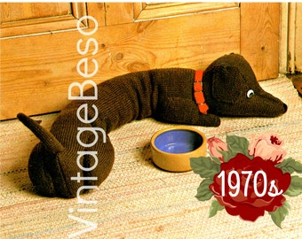 INSTANT DOWNlOAD - PdF Pattern - Draught Excluder KNITTING Pattern Dachshund Knitting Pattern Doggie Door Draft Stopper Knitting Pattern