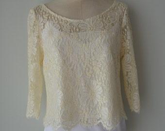 Clearance sale - 30% Blouse lace top ivory lace, Bridal shoulder wrap