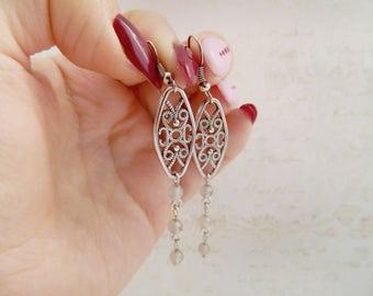 Gray agate earrings Gray Earrings Hostess Gift  Geometric Earrings Wedding Earrings Bridal Earrings bridesmaid earrings Girlfriend earrings