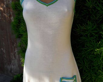 Vintage 1970s White Stag Size 10 Knit Tennis Dress