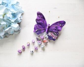handmade Butterfly hairclip hair clip japan kimono style