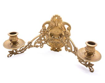 Large Two-armed Wall Sconce, Art Nouveau Style Brass Candle Holders, Ornamental Floral Sconce