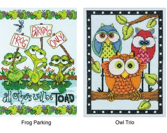 Dimensions Cross Stitch Kit- Frog Parking (70-65148), Owl Trio (70-65159)