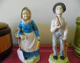 Hand Made Old Country Couple Ceramic Figurines - Man With Cane And Pipe, Woman With Basket