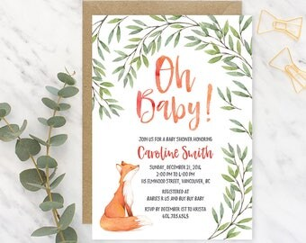 Fox Baby Shower Invitation, Woodland Baby Shower Invitation, Printable Baby Shower Invitation Gender Neutral, Fox Baby Shower Invitation FBS