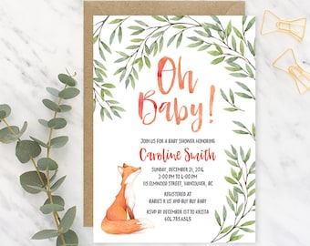 Woodland Baby Shower Invitation, Fox Baby Shower Invitation, Printable Baby Shower Invitation Gender Neutral, Fox Baby Shower Invitation FBS