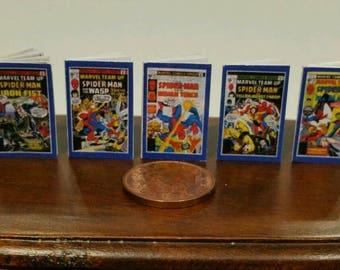 Spiderman Comics for Dolls houses retro style x 5