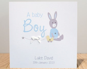 Personalised New Baby Card - Girl or Boy Bunny