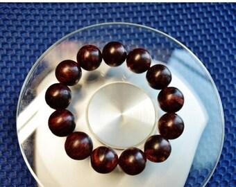 Asian Sumatra agar wood turned brown purple beads bracelet