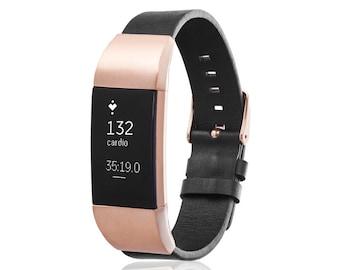 Bracelet GLEN for Fitbit Charge 2 tracker - Black/Rose Gold
