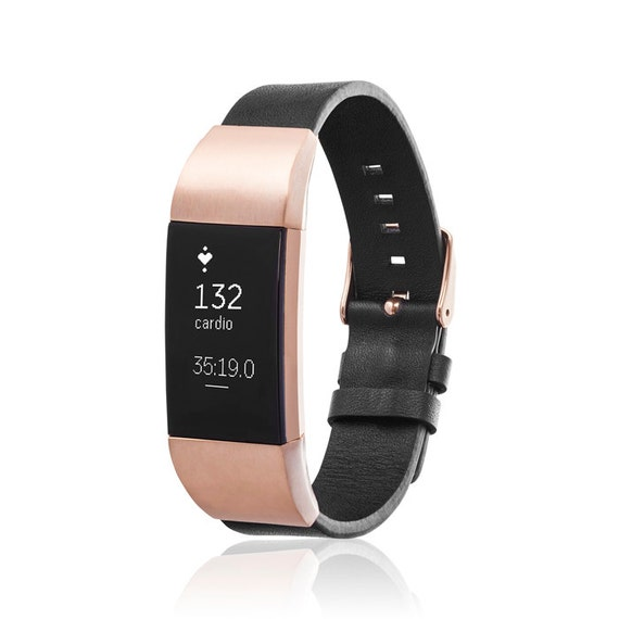 Bracelet GLEN for Fitbit Charge 2 tracker - Black/Rose Gold
