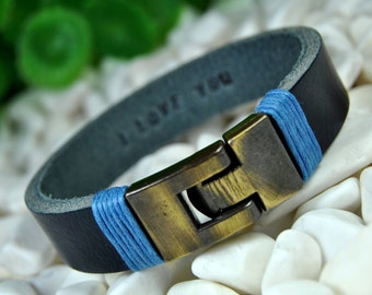 Personalized Leather Bracelet, Hidden Message, Custom Leather, Men's Bracelet, Engraved Bracelet, Bronze Clasp, Women's Bracelet, Dark Navy