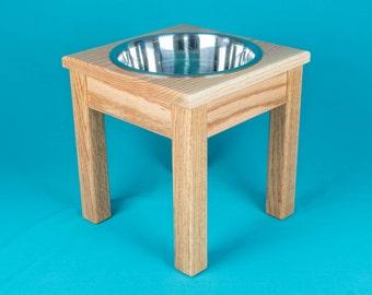 "Elevated Dog Feeder 12"" With a Single Three Quart Bowl, Solid Oak Wood"