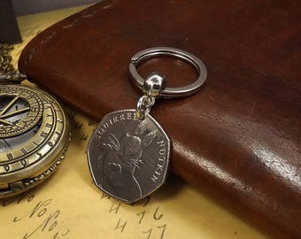 Commemorative 2016 Beatrix Potter Squirrel Nutkin 50 pence Coin Keychain
