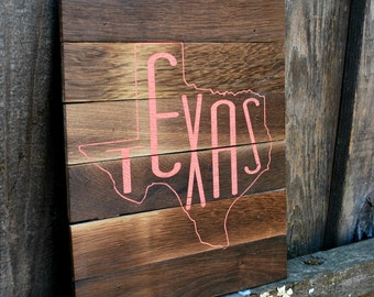 "Reclaimed Rustic Wood Texas Sign 10""x12"" // Home Decor // Dorm Decor // State Love //"