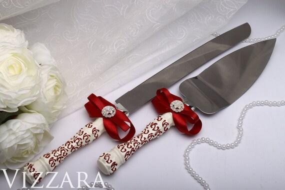 Wedding Cake Set Vinous HandPAINTED ENGRAVING Cake Knife Wedding Set