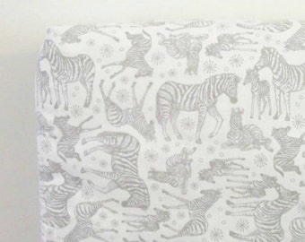 Fitted Cot Sheet/ zebra/ grey gray and white/ crib sheet/ monochrome nursery/ modern nursery/ animal nursery/ gender neutral nursery/ cotton