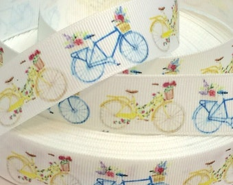 7/8 inch Cute Yellow and Blue Bike Bikes Bicycle Bicycles Sports -  Printed Grosgrain Ribbon for Hair Bow