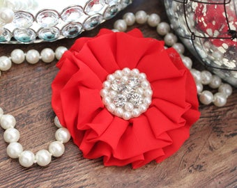 """4"""" RED Chiffon Fabric Flowers with Crystal Pearl Center - Fluffy - Beautiful -Hair Accessories - Wedding - TheFabFind"""