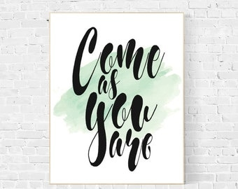 Come as you are, song lyric art, song lyrics wall art, song lyric art, music art, instant download, song lyrics wall art, come as you are