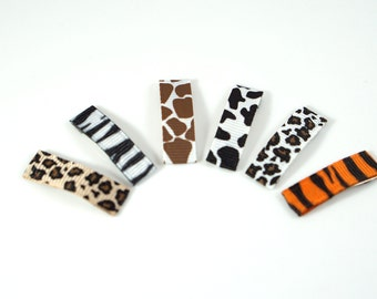 Animal Baby Barrette. Baby Hair Clips. Baby Clips. Small Bow Set. Small Baby Bow Set. Animal Print Bow Set. Tiny Baby Barrettes.