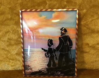 Reverse Painted Convex Glass Silhouette Picture