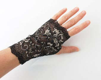 Black and Silver Lace Gloves, fingerless mittens, gift for her,