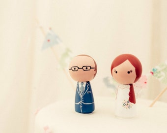 Bride & Groom Cake Toppers - Personalised Wedding Cake Toppers  - Peg Doll Cake Toppers - Kokeshi Cake Toppers