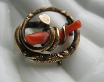 Antique 1800s Coral Love Knot Snake Brooch Rolled Gold Pin Victorian Valentine