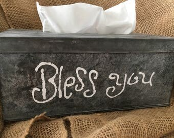 Farmhouse Metal Tissue Box Cover-Kleenex Box-Bathroom Decor-Bathroom-Home Decor-Farmhouse Decor-Tissue Box Cover-Bless You