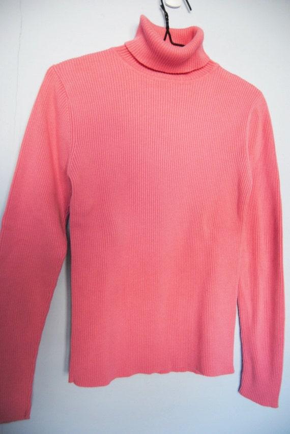 90s Ribbed Turtleneck Vintage Salmon Pink Shirt stretchy