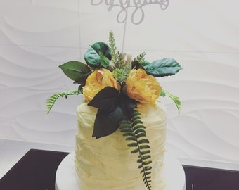Rustic artificial flower Cake Topper