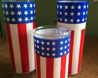 3 Vintage Patriotic Drinking Glasses