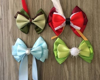 Peter Pan Inspired Tinkerbell Peter Pan Captain Hook Wendy Hair Bows
