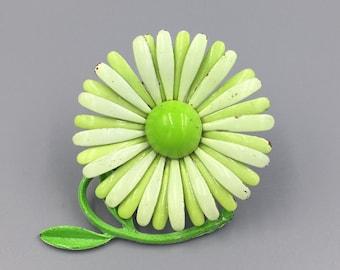 Green Flower Brooch, Lime Green Enamel Springtime Flower Pin, Daisy Flower Power Vintage 1960s Bright Green Stem Leaves