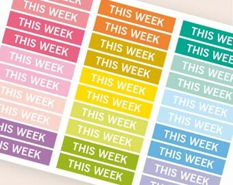 This week Heading stickers, planner header stickers, planner stickers, agenda notebook journal stickers, reminder