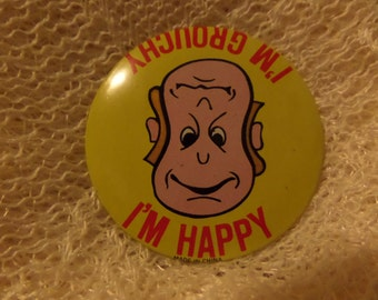 Vintage Nice Smile Cat Shut up Dance You Face Im Happy and Grouchy buttons or pins