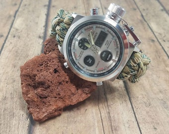 Mens Silver Paracord Watch - Custom Mens Watch - Anniversary Gifts for Men - Paracord Watch Band - Groomsmen Gift - Wedding Gift for Groom
