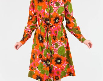 Fun Vintage 70's Deadstock Psychedelic Tropical Floral Print Button Up Shirt Dress